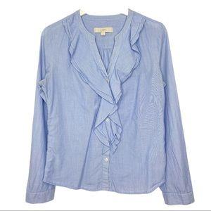 Ann Taylor Loft Ruffle Button Front Shirt Sz S